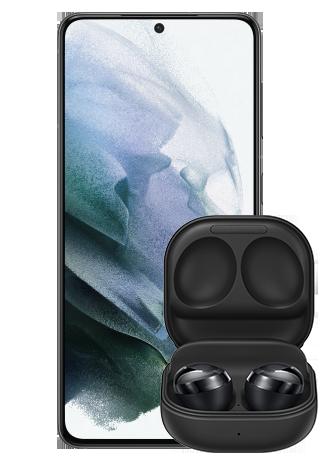 Samsung Galaxy S21 Gray Front wBudsPro