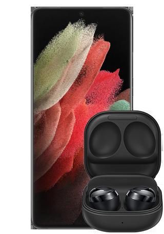 Samsung Galaxy S21 Ultra Black Front Detalj wBuds