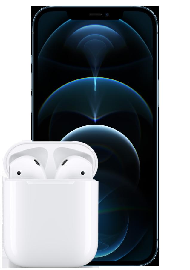 iPhone 12 Pro Max Blue front Detalj wAirPods
